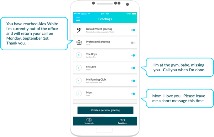 Voxist smart voicemail surprise your callers with personalized greetings delight a friend with a funny greeting or let your clients know when youll be back in town m4hsunfo Choice Image